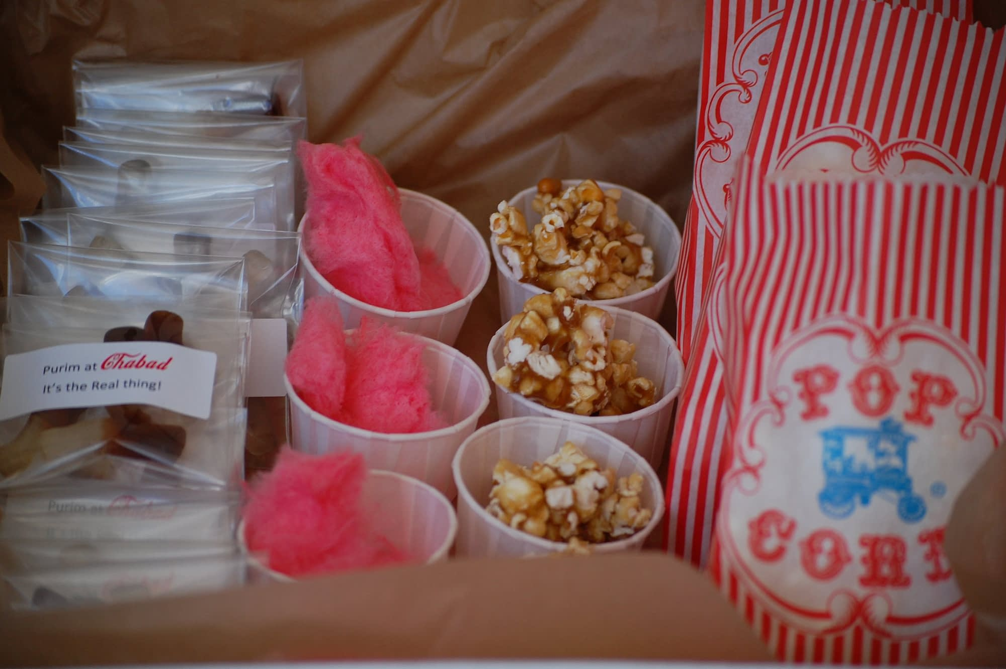 Don't forget the little details! Here is a box (from the container store) used as a concession box that my children wore! They went around offering popcorn, home made caramel popcorn, cotton candy and coke gummies!